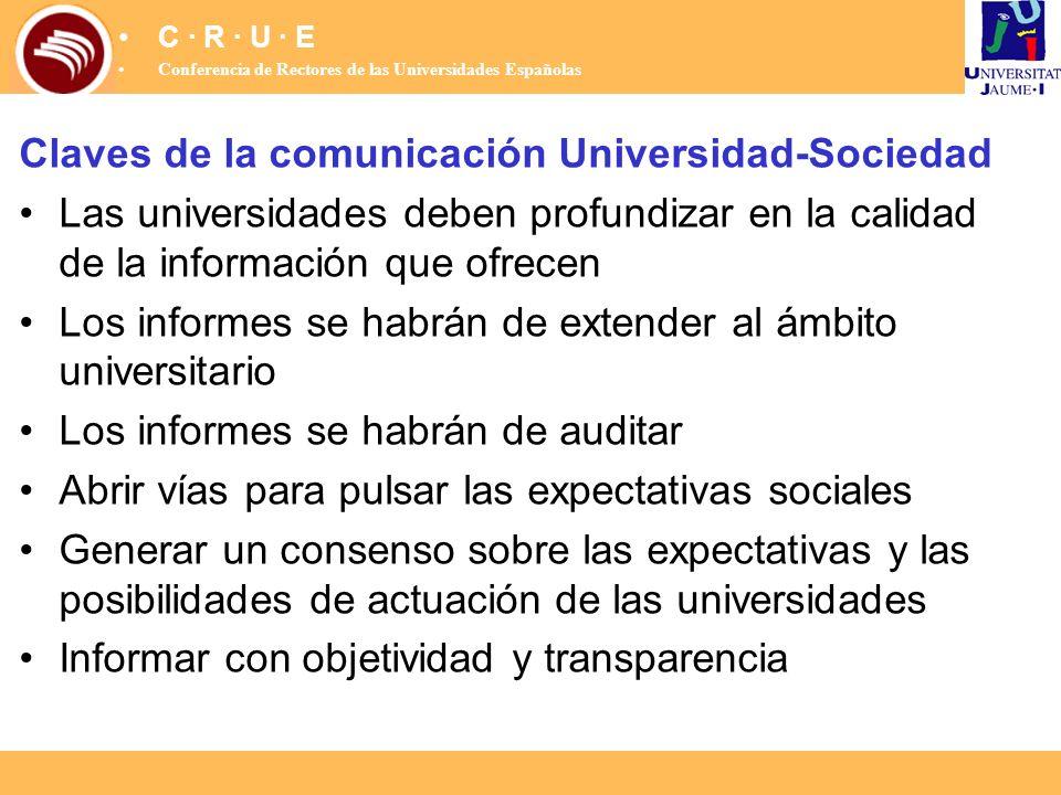 Claves de la comunicación Universidad-Sociedad Las universidades deben profundizar en la calidad de la información que ofrecen Los informes se habrán