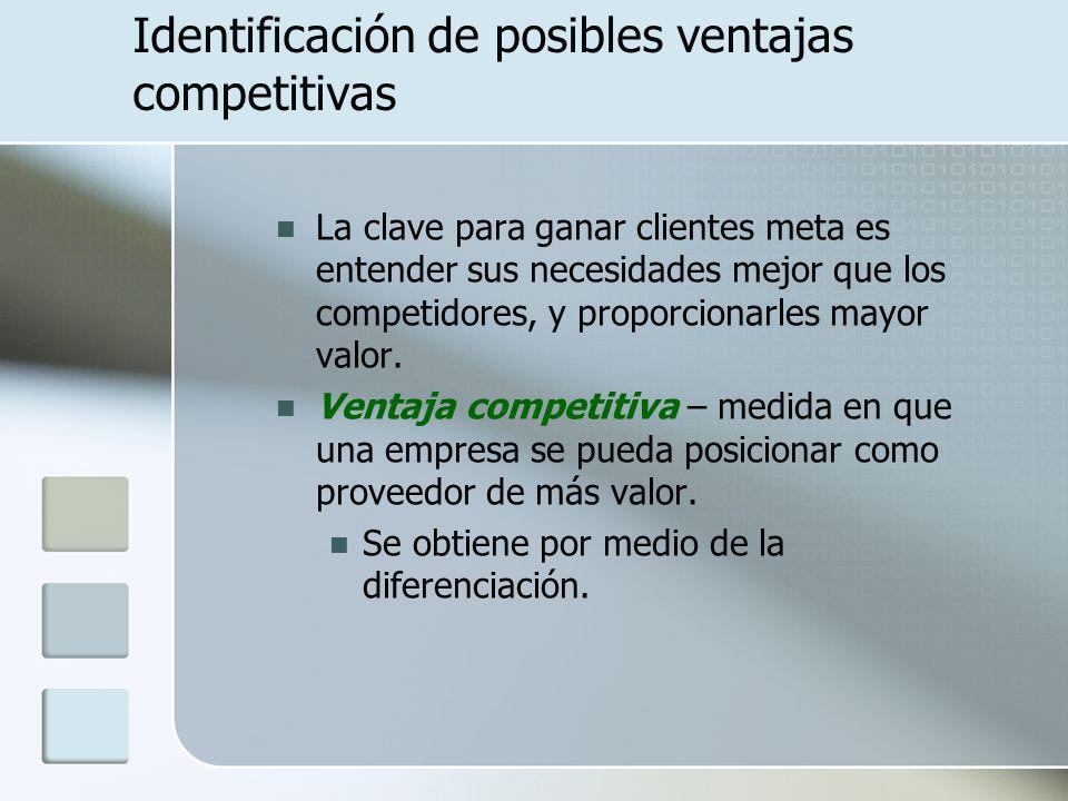 Identificación de posibles ventajas competitivas La clave para ganar clientes meta es entender sus necesidades mejor que los competidores, y proporcio