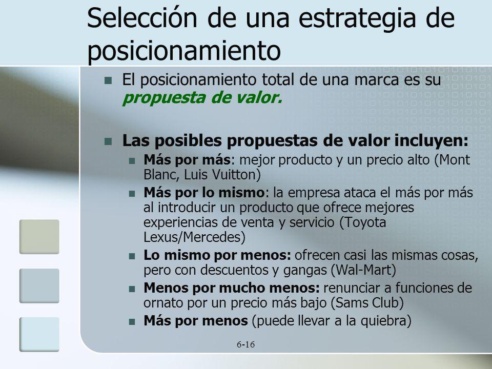 6-16 El posicionamiento total de una marca es su propuesta de valor. Las posibles propuestas de valor incluyen: Más por más: mejor producto y un preci