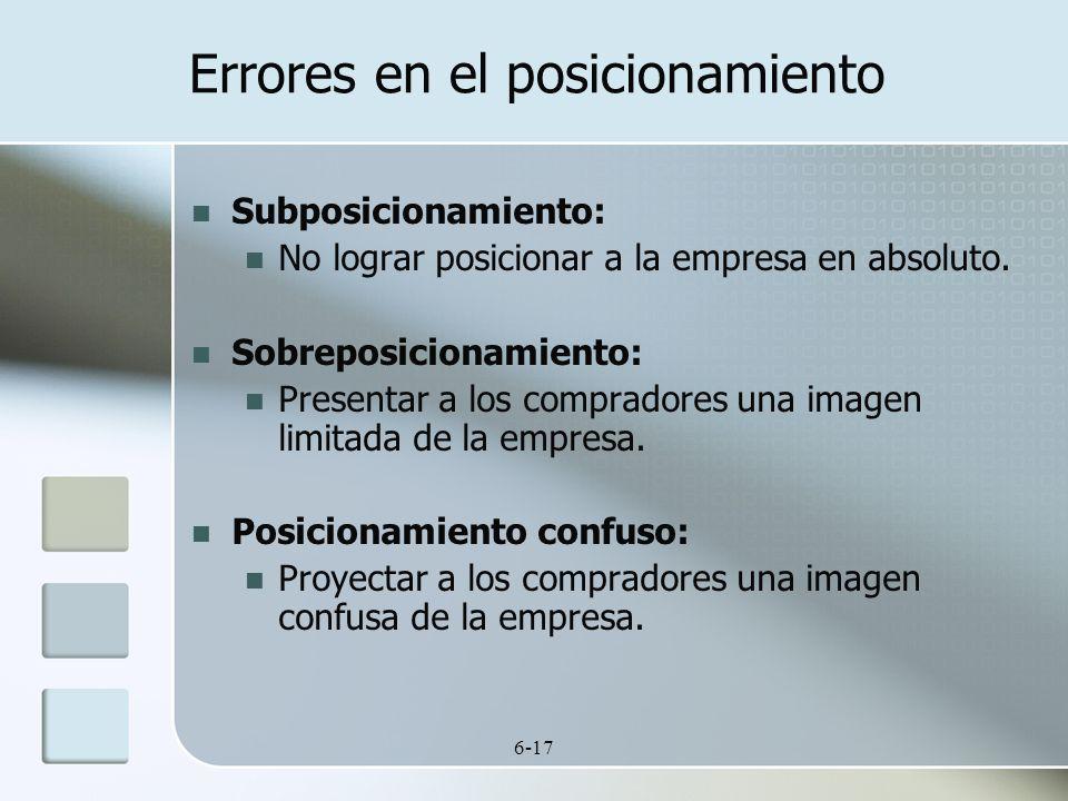 6-17 Errores en el posicionamiento Subposicionamiento: No lograr posicionar a la empresa en absoluto. Sobreposicionamiento: Presentar a los compradore