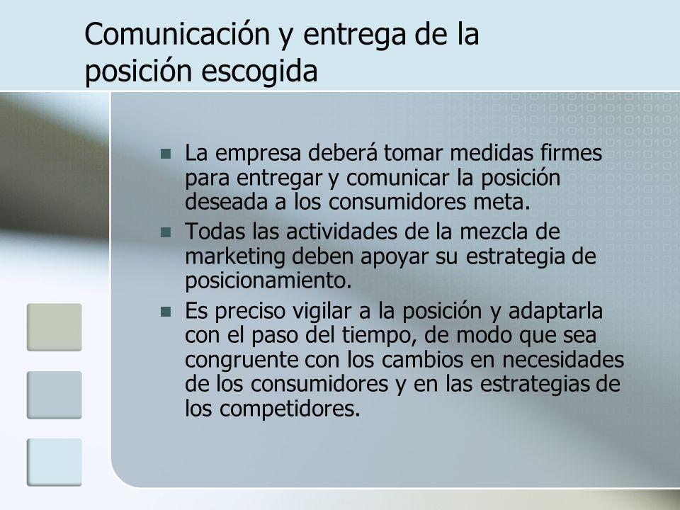 Comunicación y entrega de la posición escogida La empresa deberá tomar medidas firmes para entregar y comunicar la posición deseada a los consumidores