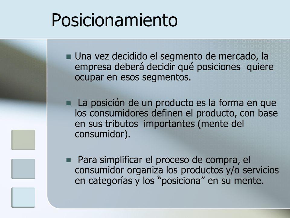 Posicionamiento Una vez decidido el segmento de mercado, la empresa deberá decidir qué posiciones quiere ocupar en esos segmentos. La posición de un p