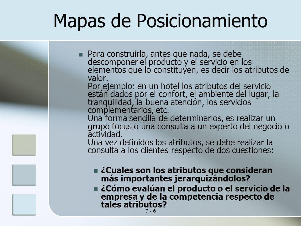 7 - 6 Mapas de Posicionamiento Para construirla, antes que nada, se debe descomponer el producto y el servicio en los elementos que lo constituyen, es