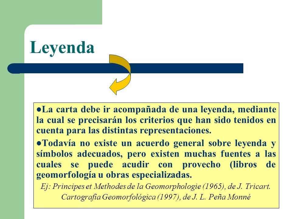 Símbolos Es un problema de gran magnitud que reconoce una serie de inconvenientes, debido a: Confusión de cartas geológicas con cartas geomorfológicas.