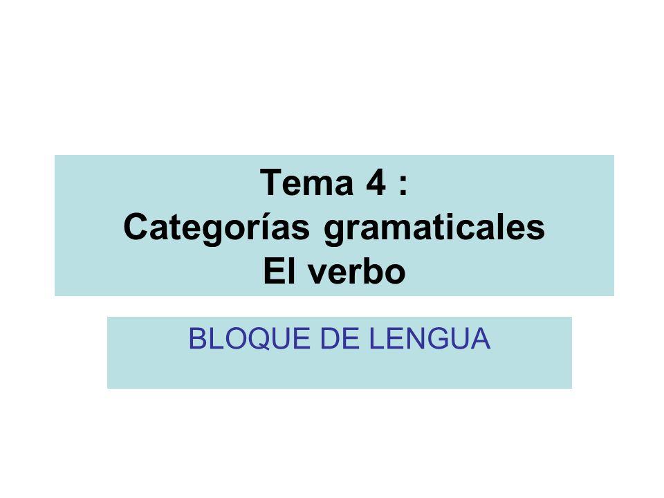 Tema 4 : Categorías gramaticales El verbo BLOQUE DE LENGUA