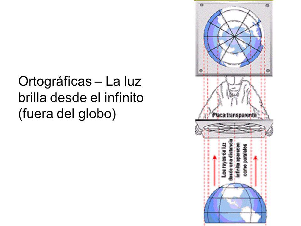 Ortográficas – La luz brilla desde el infinito (fuera del globo)