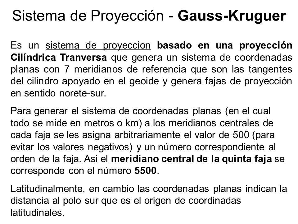 Sistema de Proyección - Gauss-Kruguer Es un sistema de proyeccion basado en una proyección Cilíndrica Tranversa que genera un sistema de coordenadas p