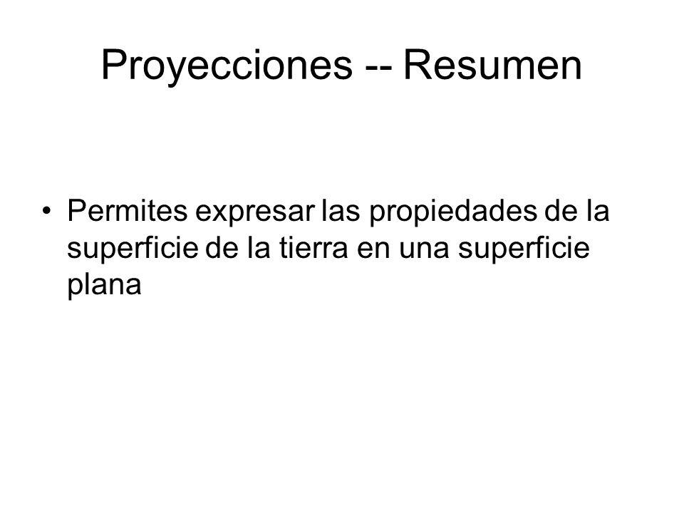 Proyecciones -- Resumen Permites expresar las propiedades de la superficie de la tierra en una superficie plana