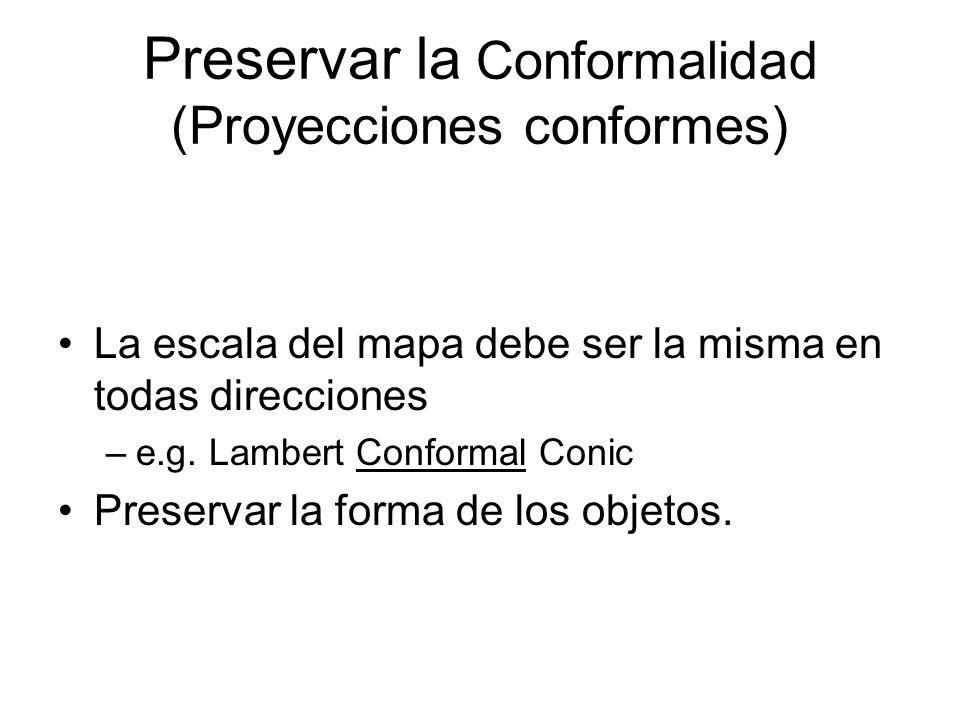 Preservar la Conformalidad (Proyecciones conformes) La escala del mapa debe ser la misma en todas direcciones –e.g. Lambert Conformal Conic Preservar