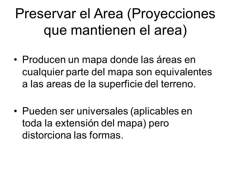 Preservar el Area (Proyecciones que mantienen el area) Producen un mapa donde las áreas en cualquier parte del mapa son equivalentes a las areas de la