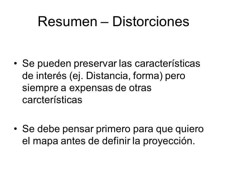 Resumen – Distorciones Se pueden preservar las características de interés (ej. Distancia, forma) pero siempre a expensas de otras carcterísticas Se de