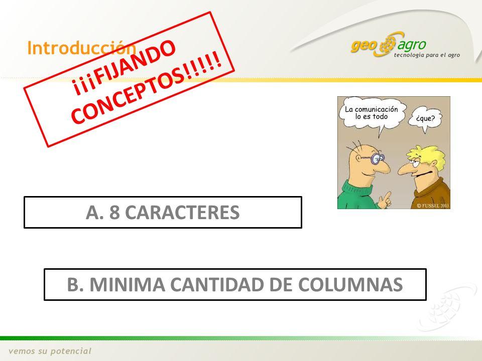 Introducción ¡¡¡FIJANDO CONCEPTOS!!!!! A. 8 CARACTERES B. MINIMA CANTIDAD DE COLUMNAS