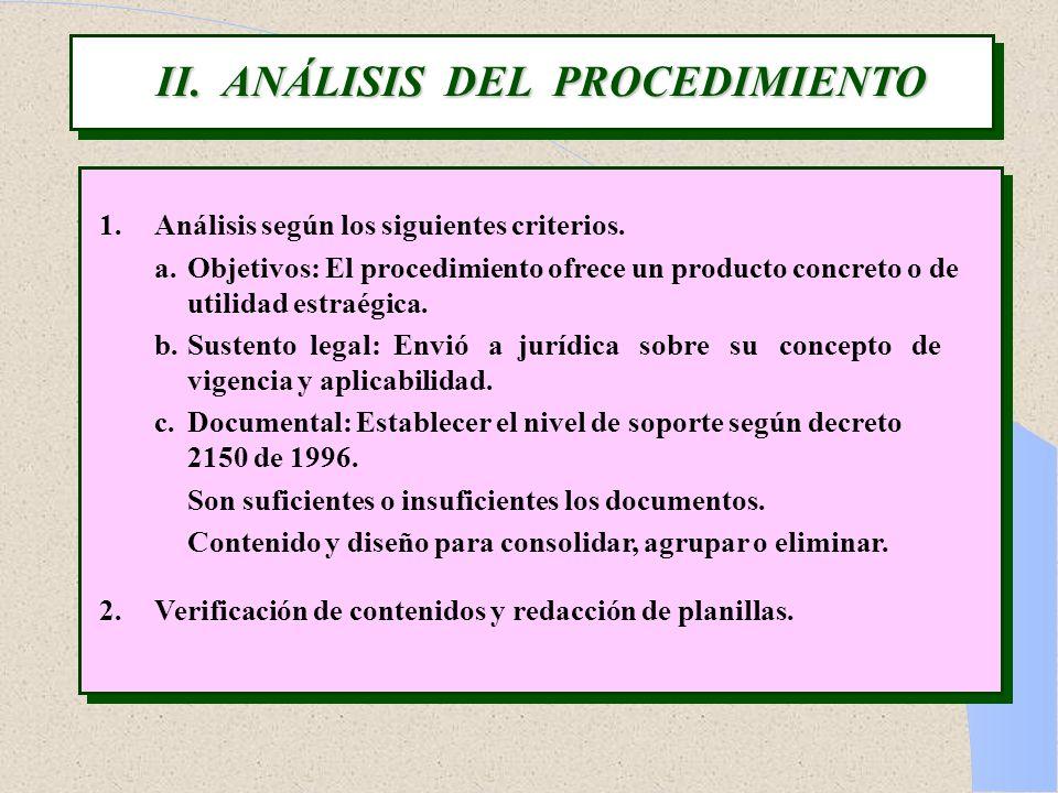 II. ANÁLISIS DEL PROCEDIMIENTO 1.Análisis según los siguientes criterios. a.Objetivos: El procedimiento ofrece un producto concreto o de utilidad estr