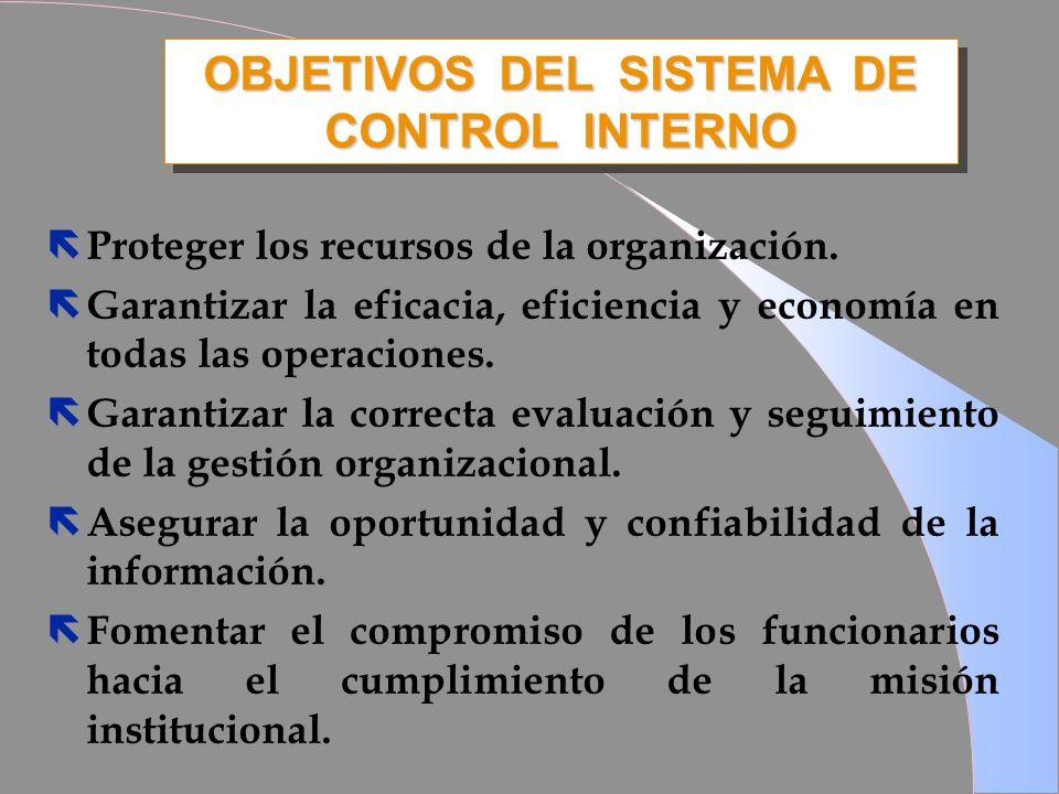 OBJETIVOS DEL SISTEMA DE CONTROL INTERNO ë Proteger los recursos de la organización. ë Garantizar la eficacia, eficiencia y economía en todas las oper