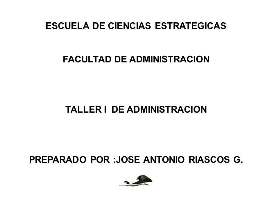 ESCUELA DE CIENCIAS ESTRATEGICAS FACULTAD DE ADMINISTRACION TALLER I DE ADMINISTRACION PREPARADO POR :JOSE ANTONIO RIASCOS G.