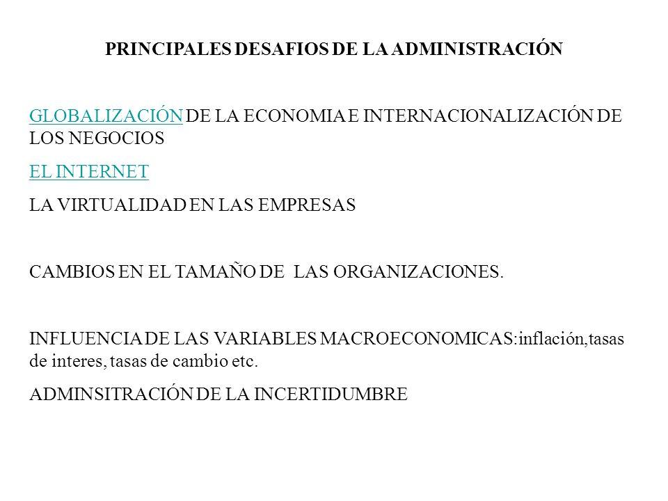 PRINCIPALES DESAFIOS DE LA ADMINISTRACIÓN GLOBALIZACIÓNGLOBALIZACIÓN DE LA ECONOMIA E INTERNACIONALIZACIÓN DE LOS NEGOCIOS EL INTERNET LA VIRTUALIDAD EN LAS EMPRESAS CAMBIOS EN EL TAMAÑO DE LAS ORGANIZACIONES.