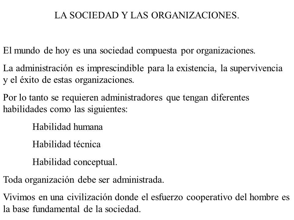 LA SOCIEDAD Y LAS ORGANIZACIONES.El mundo de hoy es una sociedad compuesta por organizaciones.