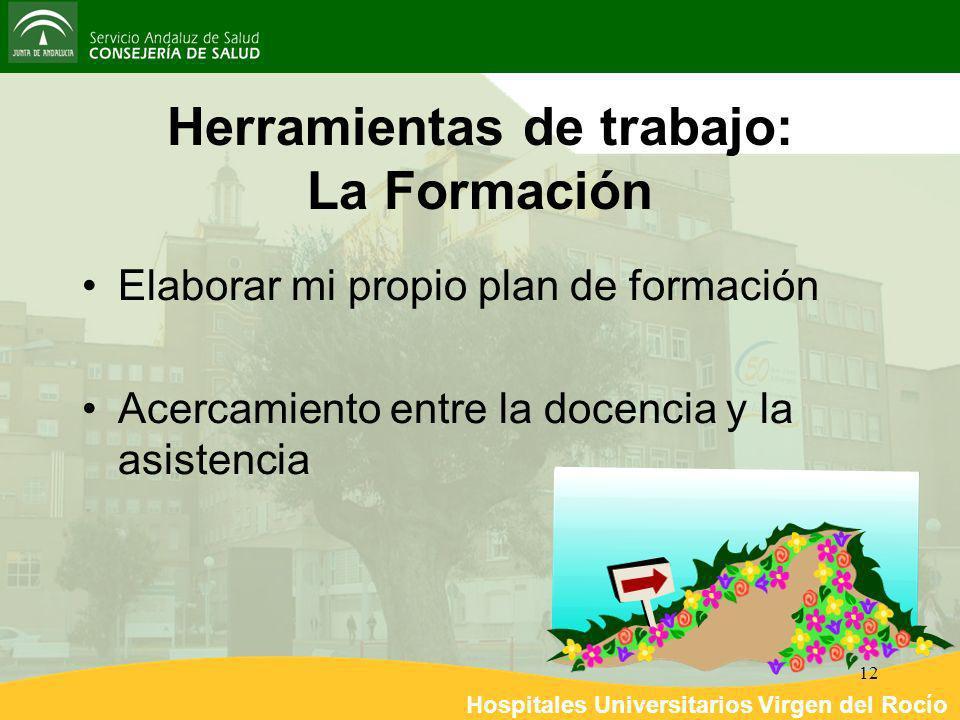 Hospitales Universitarios Virgen del Rocío 12 Herramientas de trabajo: La Formación Elaborar mi propio plan de formación Acercamiento entre la docenci