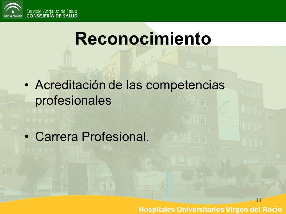 Hospitales Universitarios Virgen del Rocío 14 Reconocimiento Acreditación de las competencias profesionales Carrera Profesional.