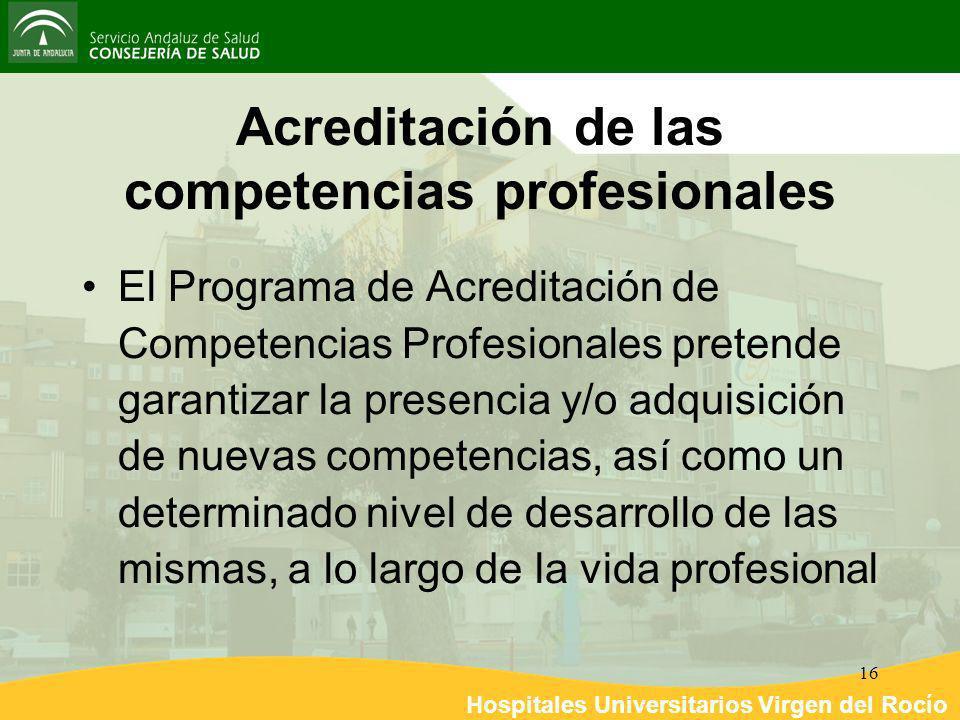 Hospitales Universitarios Virgen del Rocío 16 Acreditación de las competencias profesionales El Programa de Acreditación de Competencias Profesionales