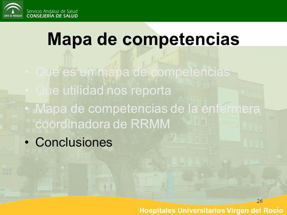 Hospitales Universitarios Virgen del Rocío 26 Mapa de competencias Que es un mapa de competencias Que utilidad nos reporta Mapa de competencias de la