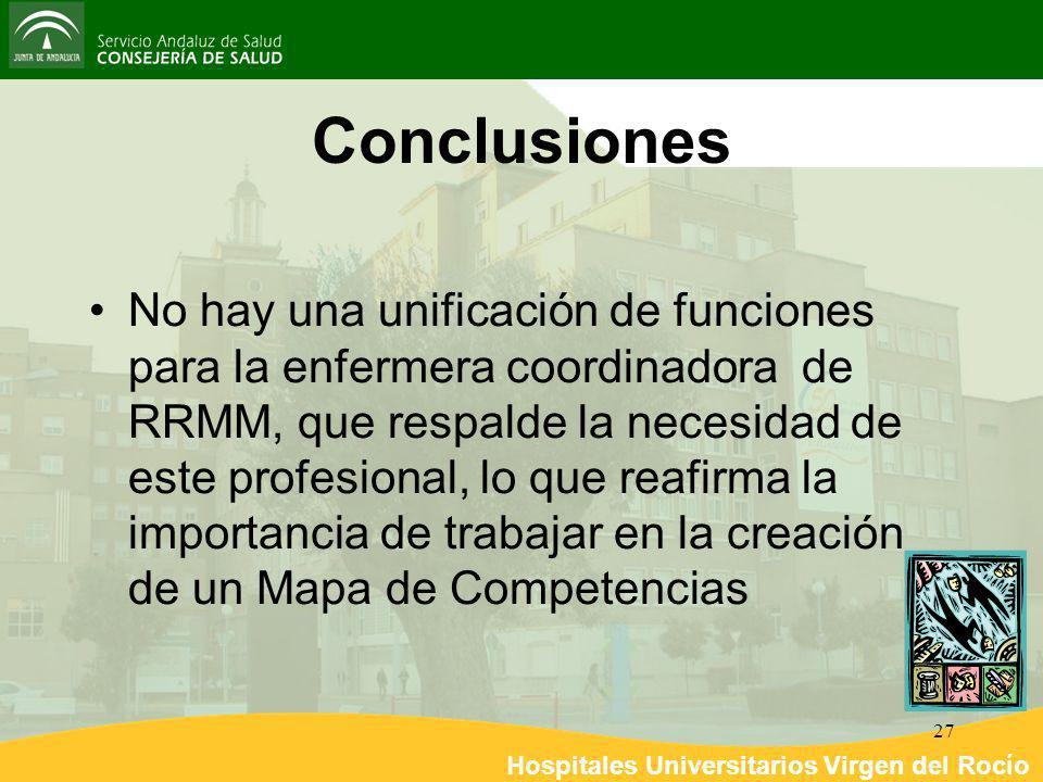 Hospitales Universitarios Virgen del Rocío 27 Conclusiones No hay una unificación de funciones para la enfermera coordinadora de RRMM, que respalde la