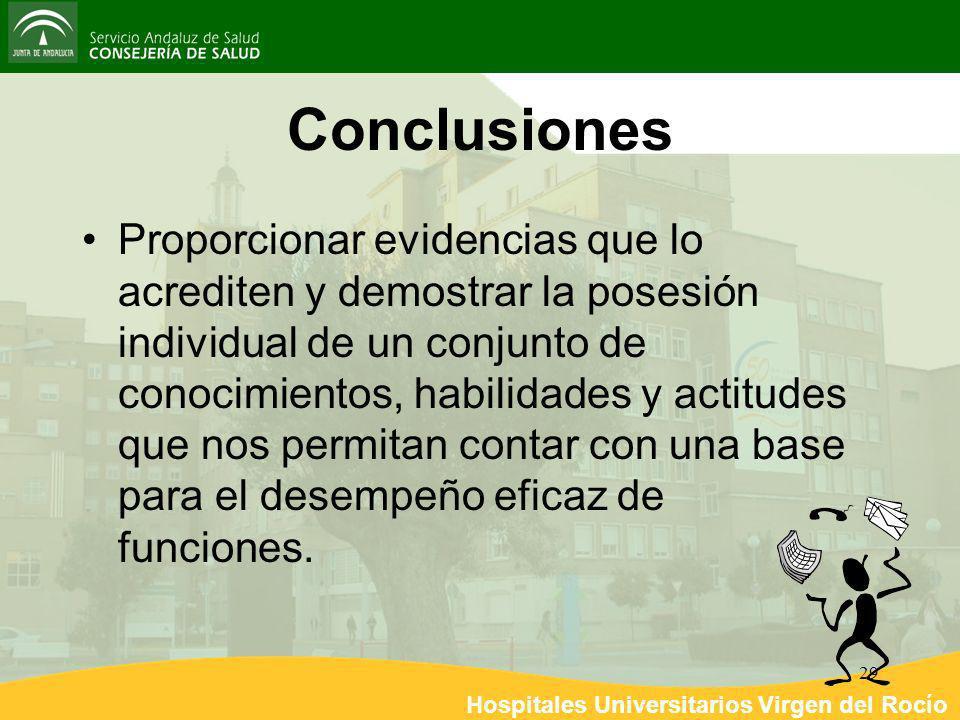Hospitales Universitarios Virgen del Rocío 29 Conclusiones Proporcionar evidencias que lo acrediten y demostrar la posesión individual de un conjunto