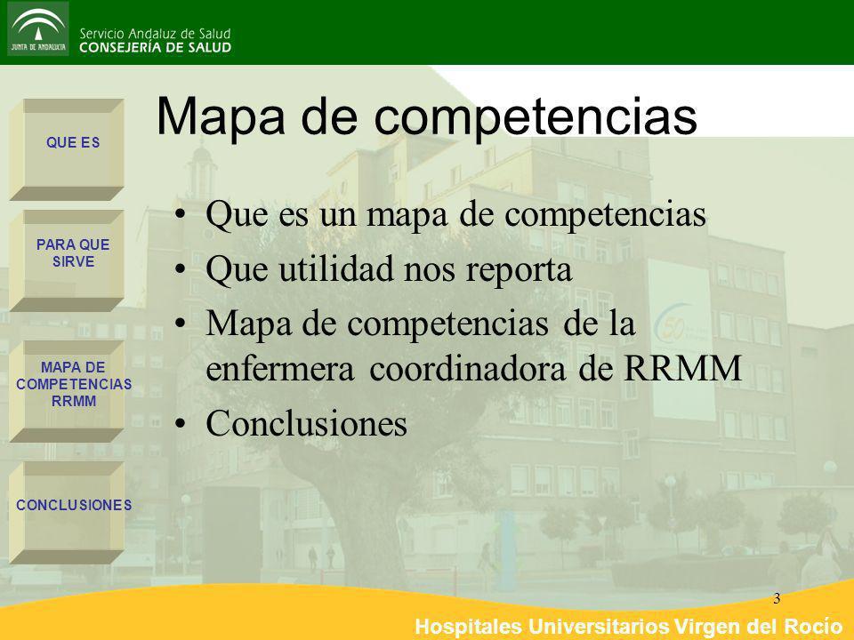 Hospitales Universitarios Virgen del Rocío 3 Mapa de competencias QUE ES PARA QUE SIRVE MAPA DE COMPETENCIAS RRMM CONCLUSIONES Que es un mapa de compe