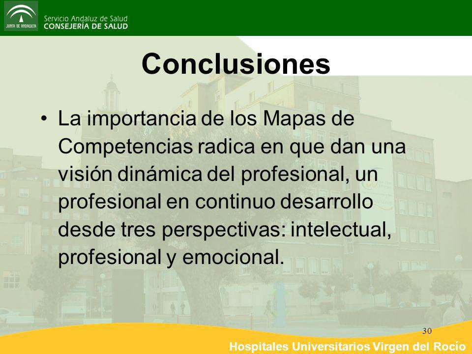 Hospitales Universitarios Virgen del Rocío 30 Conclusiones La importancia de los Mapas de Competencias radica en que dan una visión dinámica del profe