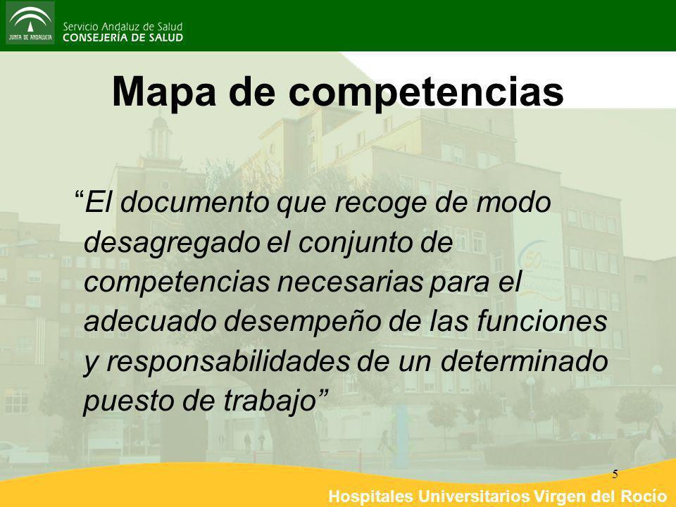 Hospitales Universitarios Virgen del Rocío 5 Mapa de competencias El documento que recoge de modo desagregado el conjunto de competencias necesarias p