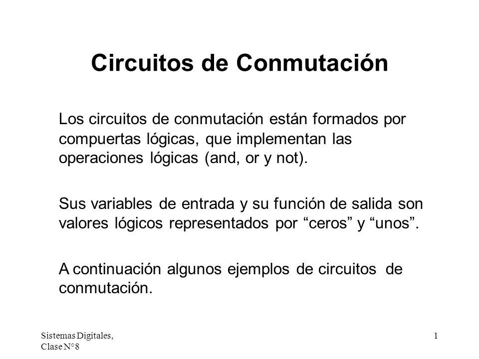 Sistemas Digitales, Clase N°8 1 Circuitos de Conmutación Los circuitos de conmutación están formados por compuertas lógicas, que implementan las opera
