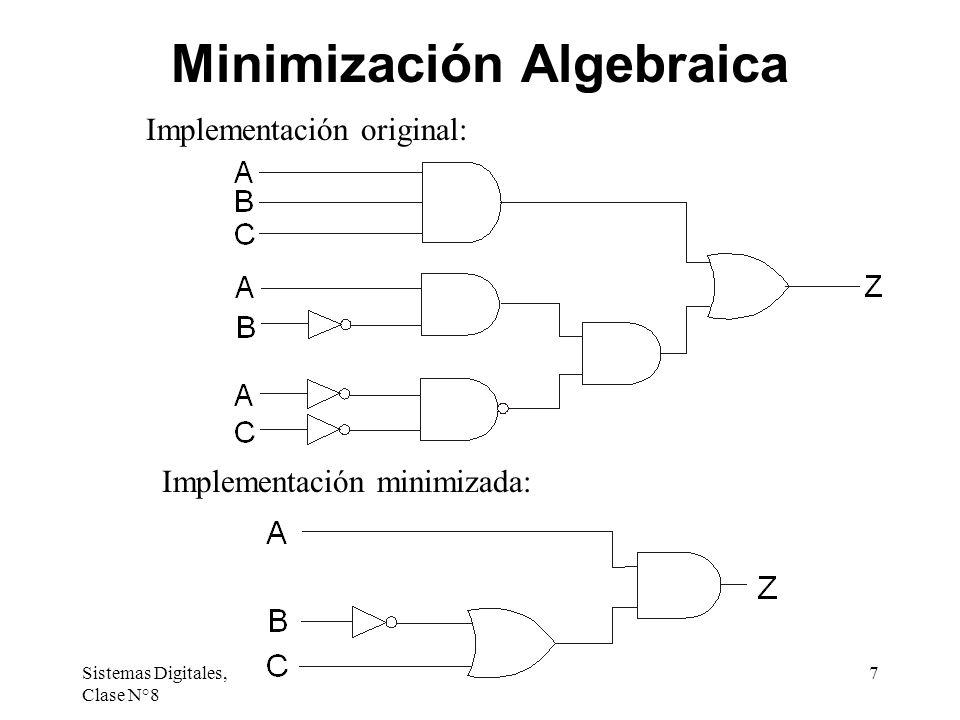 Sistemas Digitales, Clase N°8 8 Minimización por Mapas de Karnaugh Un mapa de Karnaugh es una representación gráfica de la tabla de verdad de una función de conmutación.