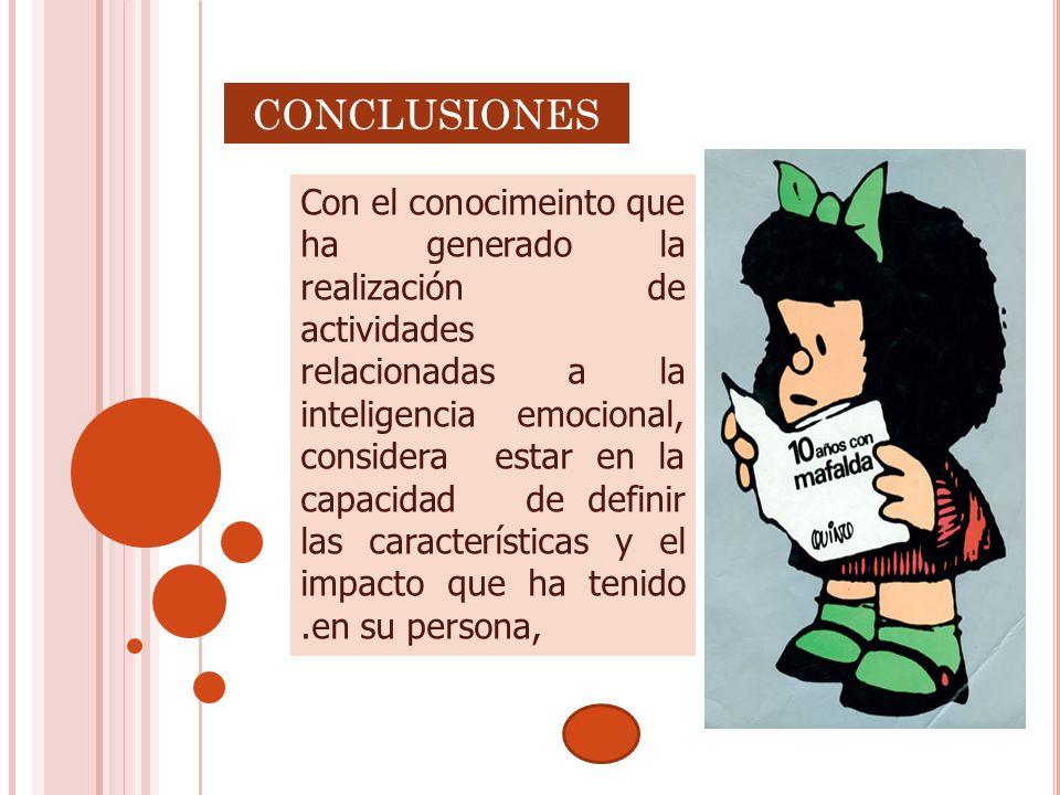 CONCLUSIONES Con el conocimeinto que ha generado la realización de actividades relacionadas a la inteligencia emocional, considera estar en la capacid