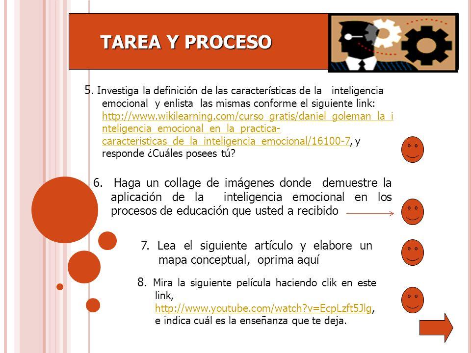 TAREA Y PROCESO TAREA Y PROCESO 5. Investiga la definición de las características de la inteligencia emocional y enlista las mismas conforme el siguie