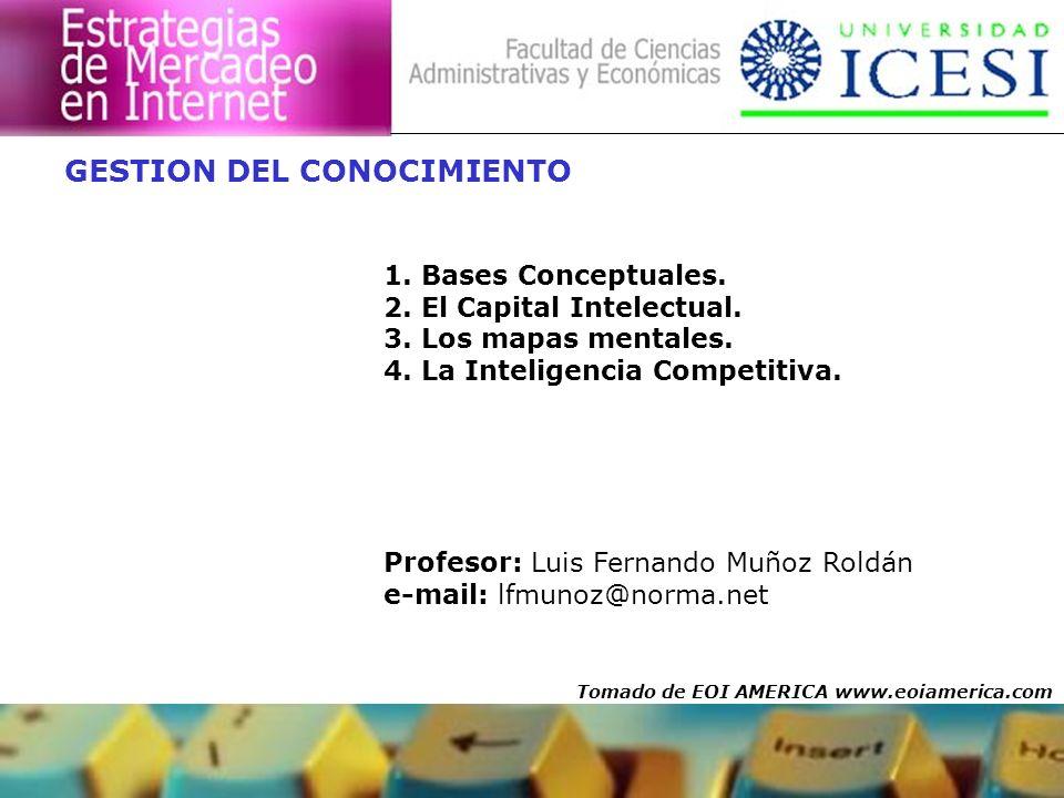 GESTION DEL CONOCIMIENTO 1. Bases Conceptuales. 2. El Capital Intelectual. 3. Los mapas mentales. 4. La Inteligencia Competitiva. Profesor: Luis Ferna