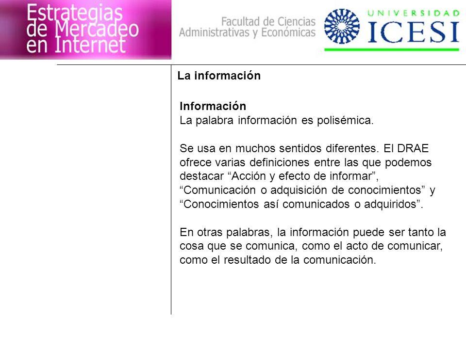 La información Información La palabra información es polisémica. Se usa en muchos sentidos diferentes. El DRAE ofrece varias definiciones entre las qu