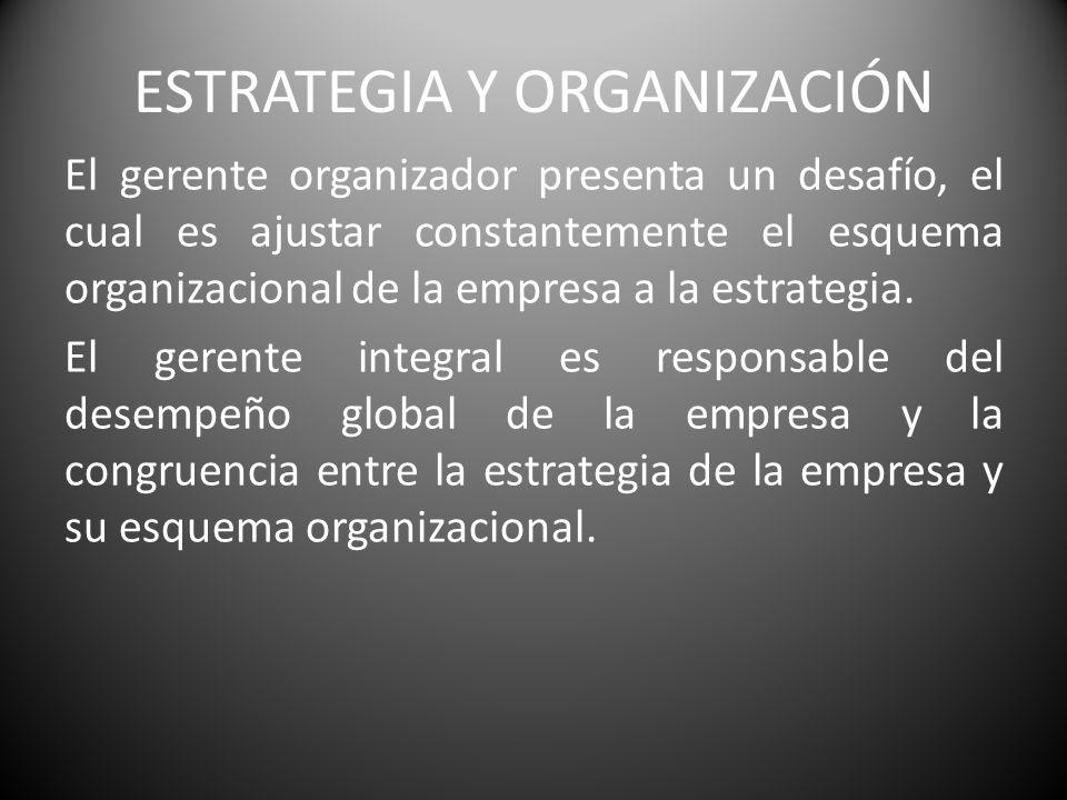 ESTRATEGIA Y ORGANIZACIÓN El gerente organizador presenta un desafío, el cual es ajustar constantemente el esquema organizacional de la empresa a la e