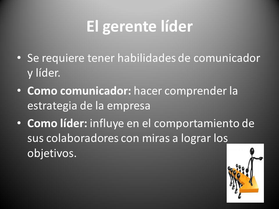 El gerente líder Se requiere tener habilidades de comunicador y líder. Como comunicador: hacer comprender la estrategia de la empresa Como líder: infl