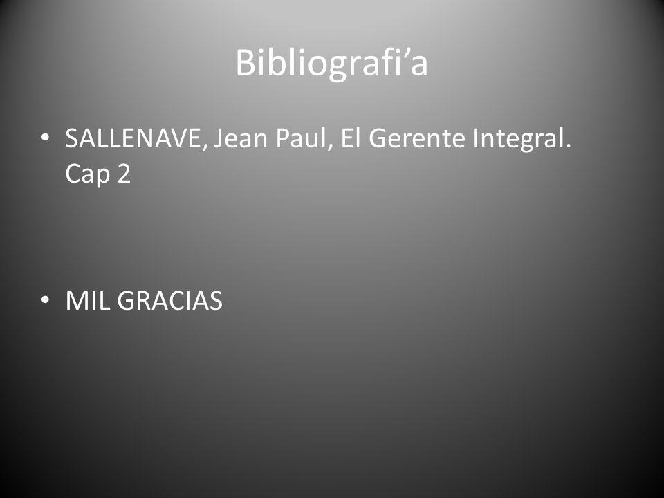 Bibliografia SALLENAVE, Jean Paul, El Gerente Integral. Cap 2 MIL GRACIAS