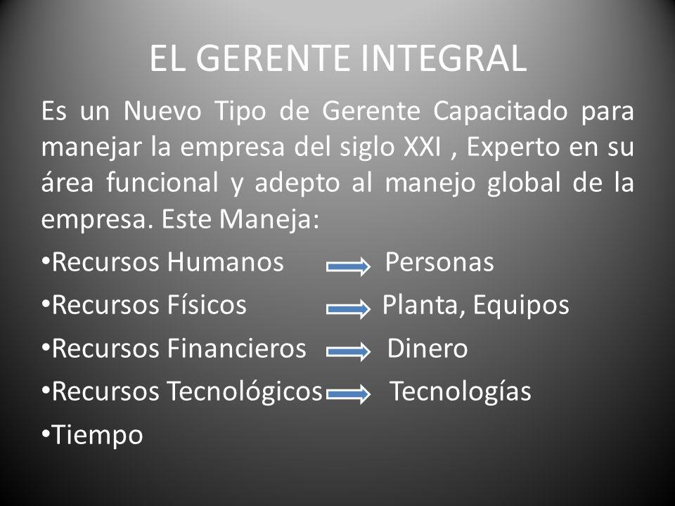 EL GERENTE INTEGRAL Es un Nuevo Tipo de Gerente Capacitado para manejar la empresa del siglo XXI, Experto en su área funcional y adepto al manejo glob