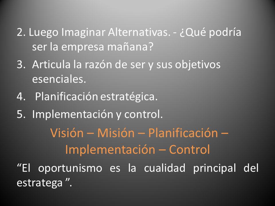 2. Luego Imaginar Alternativas. - ¿Qué podría ser la empresa mañana? 3.Articula la razón de ser y sus objetivos esenciales. 4. Planificación estratégi