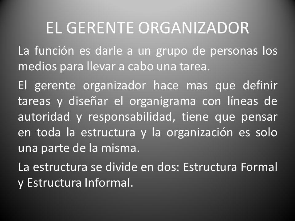 EL GERENTE ORGANIZADOR La función es darle a un grupo de personas los medios para llevar a cabo una tarea. El gerente organizador hace mas que definir