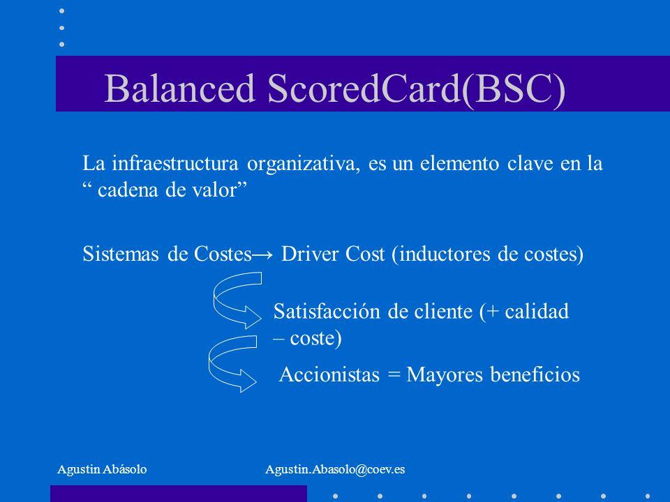 Agustin AbásoloAgustin.Abasolo@coev.es Balanced ScoredCard(BSC) La infraestructura organizativa, es un elemento clave en la cadena de valor Sistemas de Costes Driver Cost (inductores de costes) Satisfacción de cliente (+ calidad – coste) Accionistas = Mayores beneficios