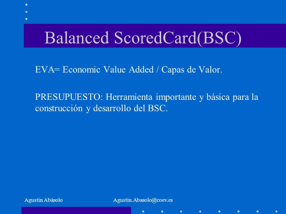 Agustin AbásoloAgustin.Abasolo@coev.es Balanced ScoredCard(BSC) EVA= Economic Value Added / Capas de Valor.