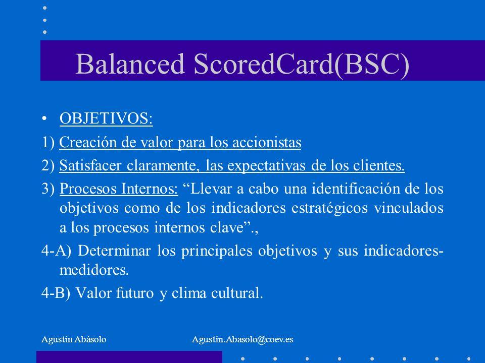 Agustin AbásoloAgustin.Abasolo@coev.es Balanced ScoredCard(BSC) OBJETIVOS: 1) Creación de valor para los accionistas 2) Satisfacer claramente, las expectativas de los clientes.