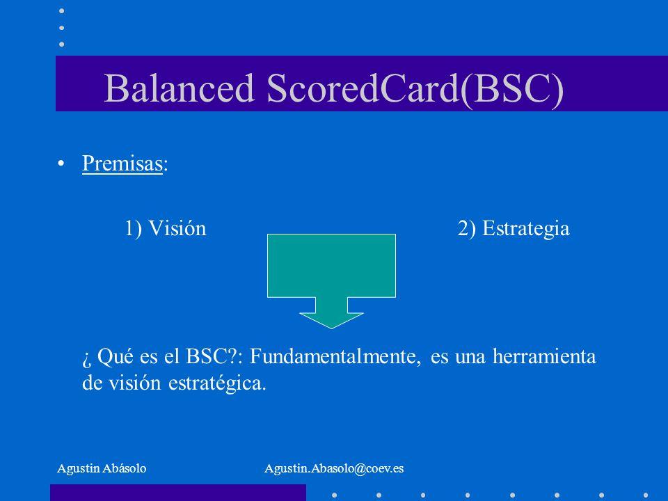 Agustin AbásoloAgustin.Abasolo@coev.es Balanced ScoredCard(BSC) Premisas : 1) Visión2) Estrategia ¿ Qué es el BSC : Fundamentalmente, es una herramienta de visión estratégica.
