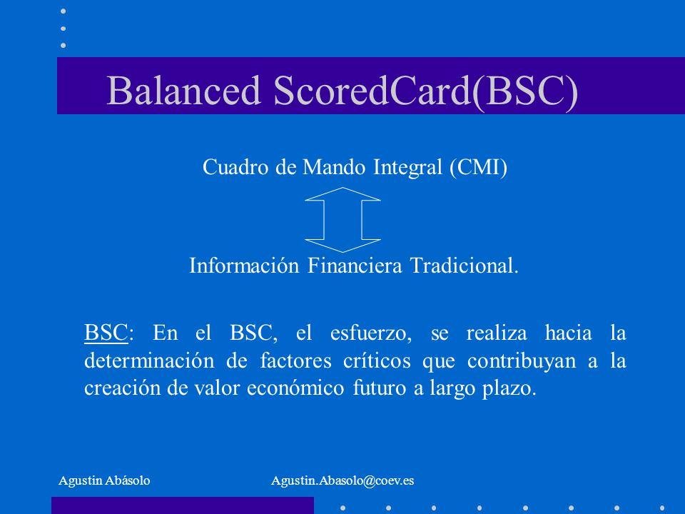 Agustin AbásoloAgustin.Abasolo@coev.es Balanced ScoredCard(BSC) Cuadro de Mando Integral (CMI) Información Financiera Tradicional.