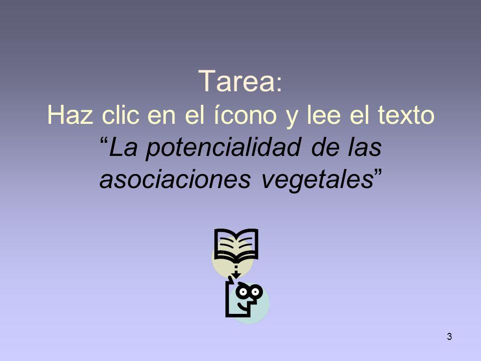 3 Tarea : Haz clic en el ícono y lee el textoLa potencialidad de las asociaciones vegetales