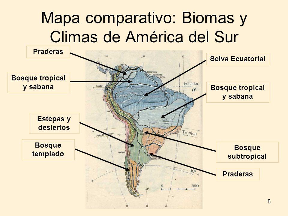 5 Mapa comparativo: Biomas y Climas de América del Sur Selva Ecuatorial Bosque tropical y sabana Bosque subtropical Praderas Bosque tropical y sabana