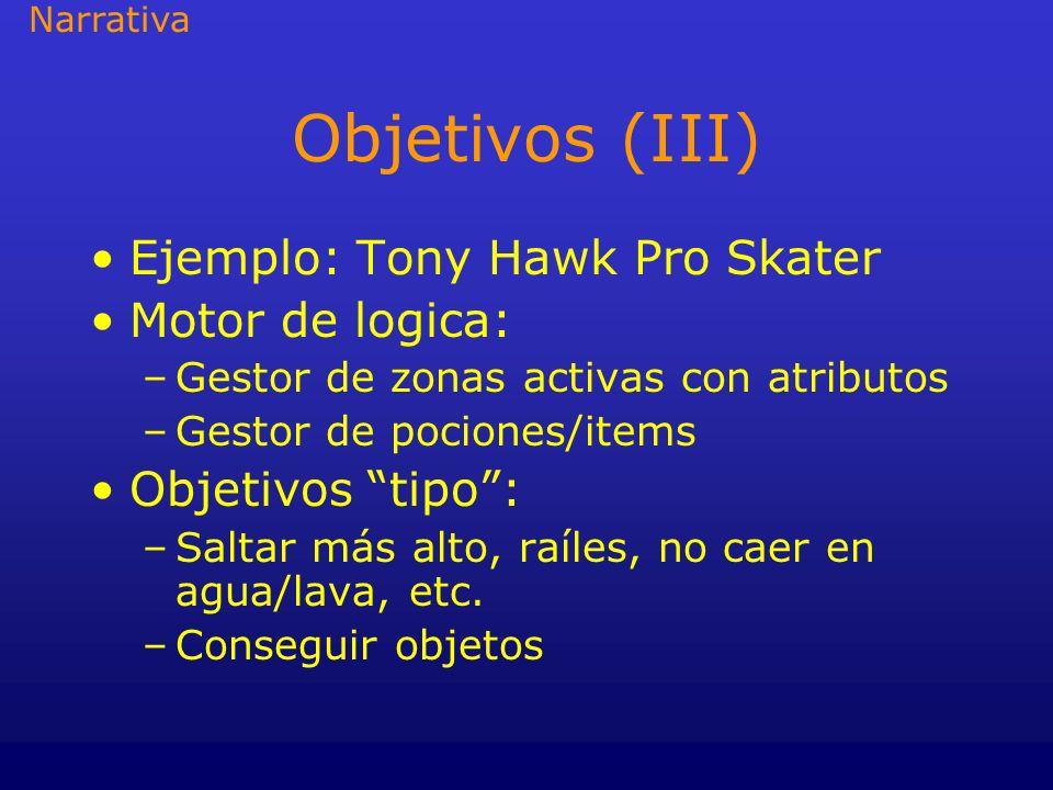 Objetivos (III) Ejemplo: Tony Hawk Pro Skater Motor de logica: –Gestor de zonas activas con atributos –Gestor de pociones/items Objetivos tipo: –Salta